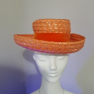 Christine original. Tangerine straw hat